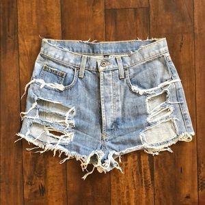 LF CARMAR Denim Shredded Cutout Shorts (26)